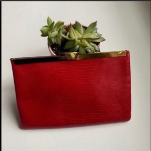 Vintage Etra genuine leather snakeskin clutch red